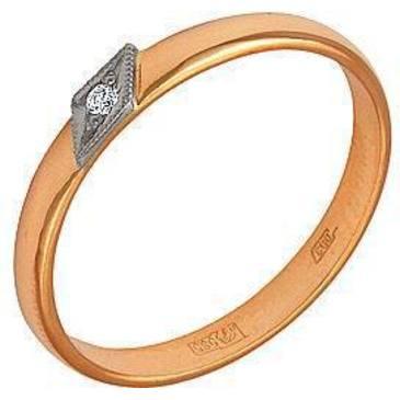 кольцо c бриллиантом из красного золота 18500004