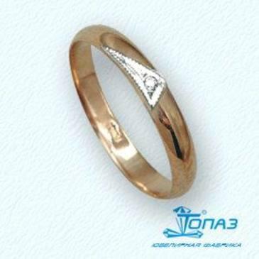 кольцо c бриллиантом из красного золота т13101035