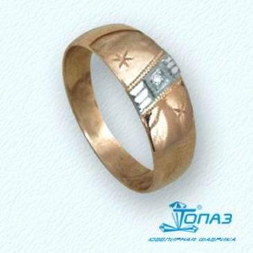 кольцо c бриллиантом из красного золота т13101023