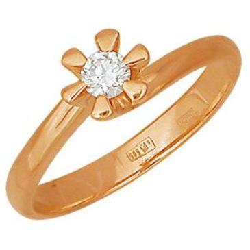 кольцо c бриллиантом из красного золота 1103990