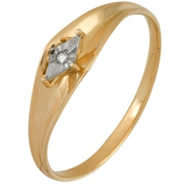 кольцо c бриллиантом из красного золота 1007101709