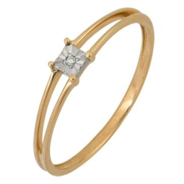 кольцо c бриллиантом из красного золота 1007101711
