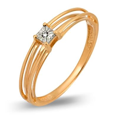 кольцо c бриллиантом из красного золота 1007101712