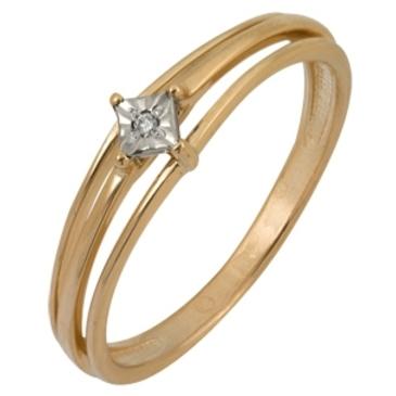 кольцо c бриллиантом из красного золота 1007101713