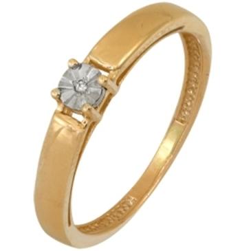 кольцо c бриллиантом из красного золота 1007101714