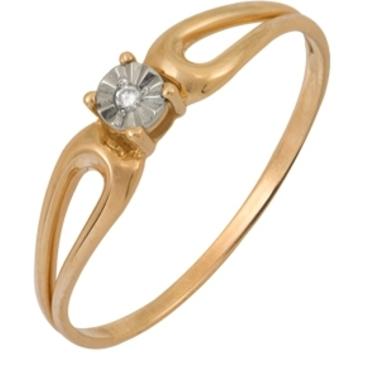 кольцо c бриллиантом из красного золота 1007101715