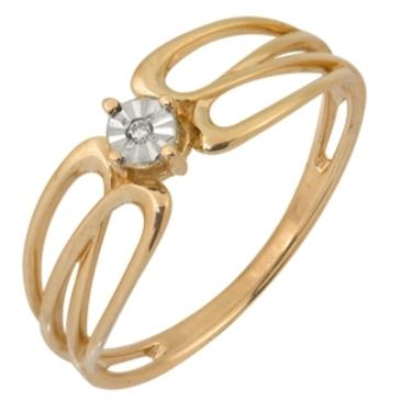 кольцо c бриллиантом из красного золота 1007101716