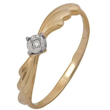 кольцо c бриллиантом из красного золота 1007102017