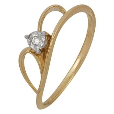 кольцо c бриллиантом из красного золота 1007102030