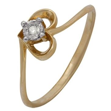 кольцо c бриллиантом из красного золота 1007102033
