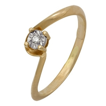 кольцо c бриллиантом из красного золота 1007102035