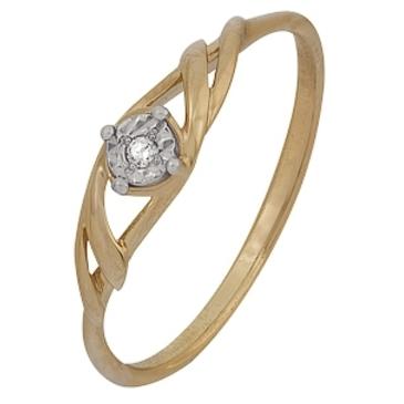 кольцо c бриллиантом из красного золота 1007102036