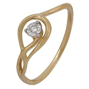 кольцо c бриллиантом из красного золота 1007102037