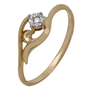 кольцо c бриллиантом из красного золота 1007102042