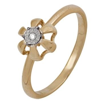 кольцо c бриллиантом из красного золота 1007102043