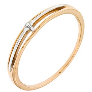 кольцо c бриллиантом из красного золота 11038010