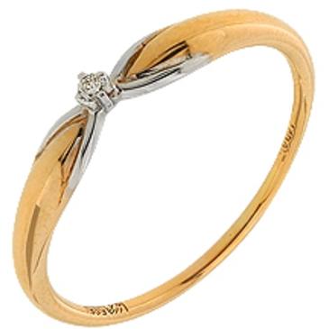 кольцо c бриллиантом из красного золота 11038011