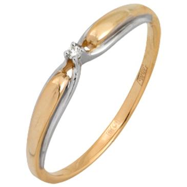 кольцо c бриллиантом из красного золота 11038044