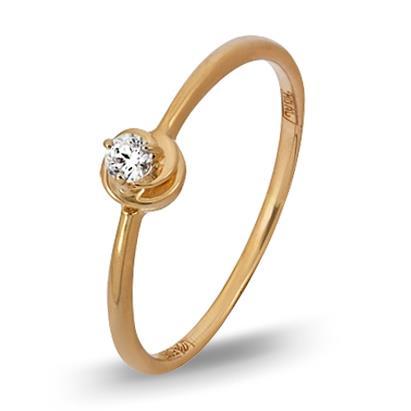 кольцо c бриллиантом из красного золота 11038289