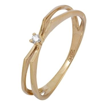 кольцо c бриллиантом из красного золота 11038498