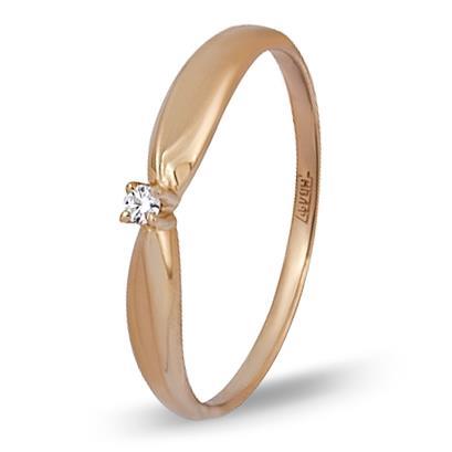 кольцо c бриллиантом из красного золота 11038499