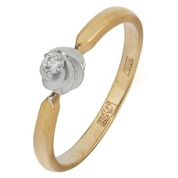 кольцо c бриллиантом из красного золота 12038274