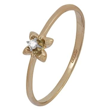 кольцо c бриллиантом из красного золота 12038518