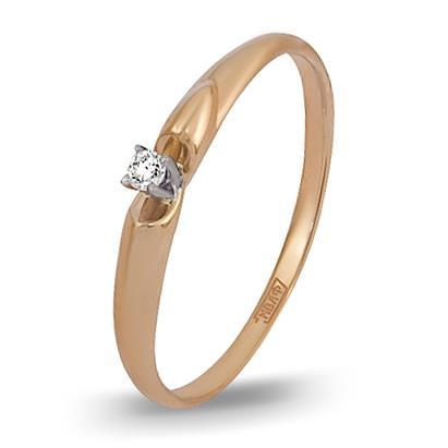 кольцо c бриллиантом из красного золота 12038519