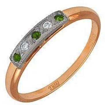 кольцо c хромдиопсидами из красного золота 1299243