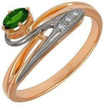 кольцо c хромдиопсидом и бриллиантами из красного золота 12991436