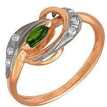кольцо c хромдиопсидом из красного золота 1299258