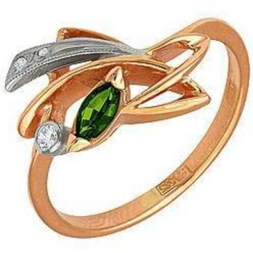 кольцо c хромдиопсидом из красного золота 1299264