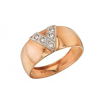 Кольцо чалма с бриллиантами из красного золота 4460