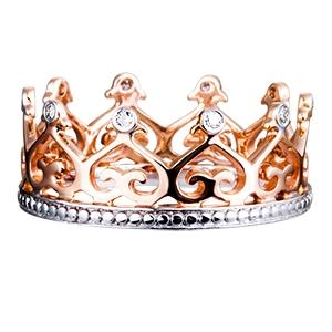 Кольцо Корона с бриллиантами из белого и из красного золота,артикул R307-247-з-ц-585