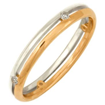 кольцо обручальное c бриллиантами из красного золота 1006208025