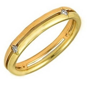 кольцо обручальное c бриллиантами из красного золота 1003008025