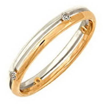 кольцо обручальное c бриллиантами из красного золота 1006008025