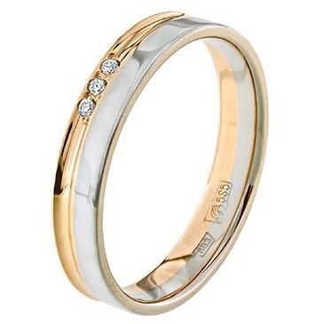кольцо обручальное c бриллиантами из красного золота 1006808081