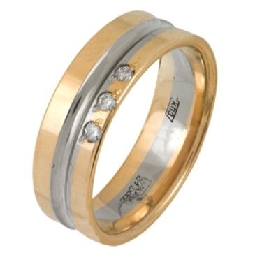 кольцо обручальное c бриллиантами из красного золота 1006808086