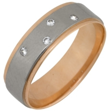 кольцо обручальное c бриллиантами из красного золота 1006808057