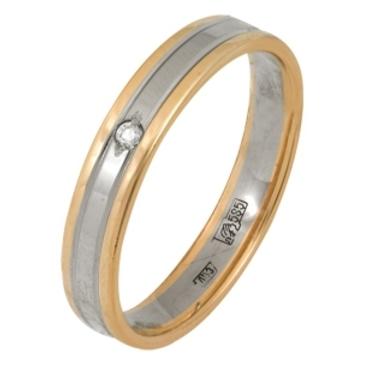кольцо обручальное c бриллиантом из красного золота 1007108085-1