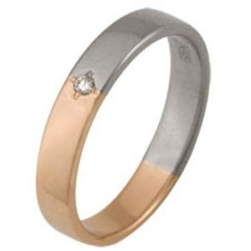 кольцо обручальное c бриллиантом из красного золота 1006008042
