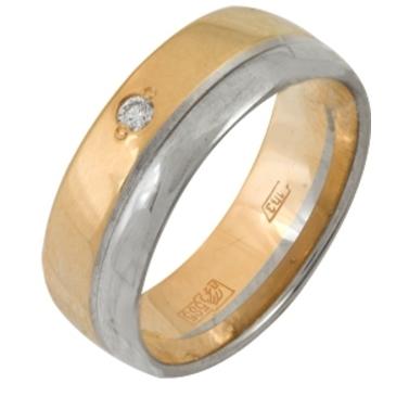 кольцо обручальное c бриллиантом из красного золота 1007108075