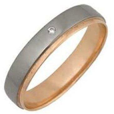 кольцо обручальное c бриллиантом из красного золота 1007108054