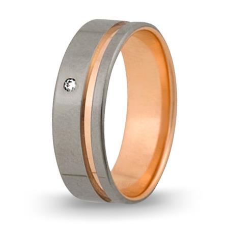 кольцо обручальное c бриллиантом из красного золота 1006808053