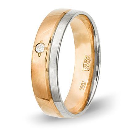кольцо обручальное c бриллиантом из красного золота 1006808075