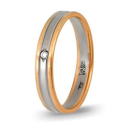 кольцо обручальное c бриллиантом из красного золота 1006808085-1
