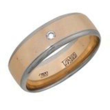 кольцо обручальное c бриллиантом из красного золота 1006808051