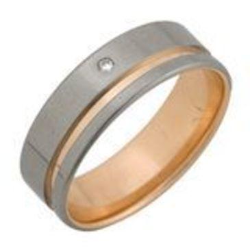 кольцо обручальное c бриллиантом из красного золота 1007108053