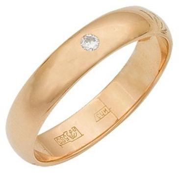кольцо обручальное c бриллиантом из красного золота 1000008017